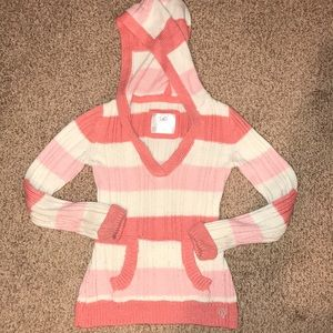 Justice Striped v-neck hooded sweater